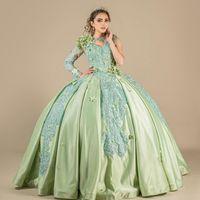 Одно плечевые кружевные аппликации Satin Quinceanera платья 2021 мята зеленое мяч платья выпускного платья кружева маскарада платья