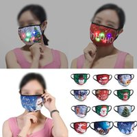 LED Mask Christmas Face Mask Cotton Masks Christmas Decorations Mask Sunscreen Dustproof Hanging Ear Type Luminous Masks HH9-3544