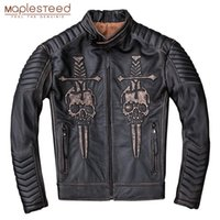 MAPLESTEED Vintage Проблемных мотоцикла куртки Мужчины череп 100% телячья кожа Slim Fit кожаных куртки Man Мото Байкеры пальто Зимнего M203
