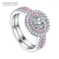 Anel de luxo para as mulheres 925 Sterling Silver Zircon Noiva Anel de Casamento Rhinestone Acessórios de jóias para festa de menina1
