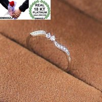 Presente de casamento OMHXZJ Party Girl Atacado Europeia Moda Mulher de luxo Folha Branca Zircon 18KT ouro branco RR643 Anel