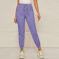 여성용 바지 카프리스 여성 하이 허리 바지 단단한 바지 2021 패션 트랙 조깅 스웨트 팬츠 립 캐주얼 Mujer Pantalones1