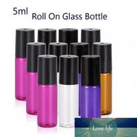 Taşınabilir 500pcs 5ml (1/6 oz) MİNİ ROLL ON Cam şişe parfüm PARFÜM CAM ŞİŞELER TEMEL YAĞ Çelik Metal Silindir top