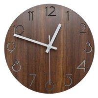 12 인치 빈티지 아랍어 숫자 디자인 소박한 국가 토스카나 스타일 나무 장식 라운드 벽 시계
