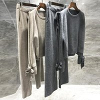 JXMYY Laine de haute qualité tricoté de laine 2 pièces Ensemble de caissier pull lâche pull pull élastique Wiast pantalon costume Tracksuit Y201128