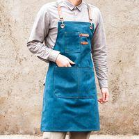 Мода холст кухонные фартуки для женщины мужчины шеф-повар рабочая фартук для гриля ресторан бар магазин кафе красота ногтей студии униформа