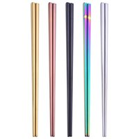 Quadrat-Edelstahl-Ess-Stäbchen Pure Color galvanisieren Geschirr Hotel Abendessen Gadgets Essstäbchen 5 Farben einfache Art-4 3XC G2