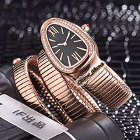 Luxry Versão Serpenti Diamond Inlay Bezel Dial Black 101815 SPP35BGDG.1t Swiss Quartz Womens Watch Relogio Rose Gold Case Pulseira Lady Watches