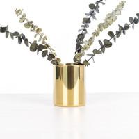 Edelstahlbürste Pot Jahrgang Einfachheit Desktop-Ornamente Vasen Plaqué Nordic Style-Multi-Funktions-Speicher Cup 18yh K2