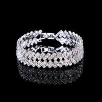 실버 크리스탈 웨딩 쥬얼리 Bangles 여성용 의상 보석 큐빅 지르코니아 다이아몬드 신부 체인 팔찌 용 팔찌