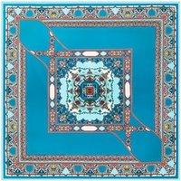 New Twill Silk Scarf Women Spain Crown Printing Square Scarves Fashion Shawl&Wraps Female Foulard Kerchief Bandana 100cm*100cm