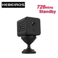 Cámaras Hebeiros 1080p Ultra Mini Cámara de batería Base Magnética Portátil IP WiFi Audio de consumo de bajo consumidor Tarjeta SD Dash