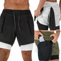 Men 2 in 1 Running Shorts Jogging Gym Fitness Training Quick...