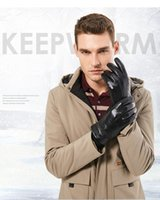BISON DENIM Men Genuine Sheepskin Leather Gloves Windproof T...