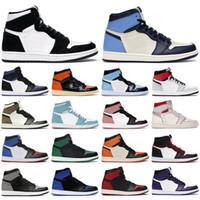 max airmax jordan aj formadores New 1 alta OG sapatos 1s meados chicago dedo do pé real preto metálico ouro pinheiro verde preto de patentes UNC homens mulheres sapatilhas