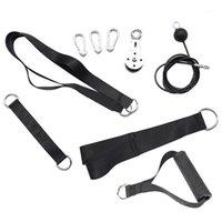 Bandes de résistance 9pcs Exerciseur de force de l'avant-bras et système de poulie élévatrice avec une longueur réglable pour les biceps de triceps bicot bac à back1
