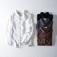 قمصان رجالية عارضة السببية الكتان قميص الرجال شعرية داكن Dobby مريحة تنفس الطبيعية 2021 trend1