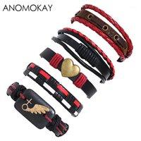 5 PCS / SET ANOMOKAY Série Punk Handwork Weaver Cuir Bracelet Bracelet Décoration cardiaque Bracelet vintage pour hommes Casual cadeau1