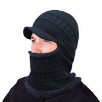25 # Erkekler Beanie Kış Kalınlaşmak Şapka Ve Fular İki parçalı Örme Windproof Cap Kış Bisiklet Aksesuarları Garcon Hiver Caps Isınma