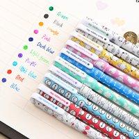 10 pz 6pcs colorato fiore gel penna ufficio stazionario forniture kawaii materiale scolastico Canetas carino penna penna penna con la scatola 04083