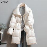 FTLZZ 2020 Kış Kadın Standı Yaka Uzun Aşağı Parka Katı Renk Uzun Kollu Dantel Yukarı Fermuar Aşağı Coat Sıcak Kar Ceket Dış Giyim