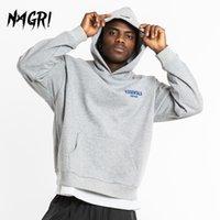 Nagri Outono Mens Hoodies Hip Hop Bordado letra impressa Casual solta Moletons Streetwear pulôver inverno com capuz masculino Tops 201019
