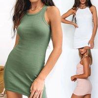 2021 Mode Frauen Sommer Baumwolle Kleid Grundlegende süße Farben Bodycon-Tank Sleeveless Minikleid Sexy Grün Rosa Mädchen Vestidos Q0111