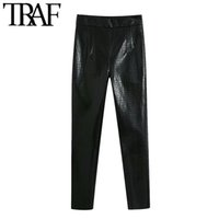 TRAF Mujeres Chic Fashion Faux Cuero Skinny Fit Pants Vintage Cintura Alta Lateral con cremallera Pantalones de tobillo Mujer Mujer LJ201030