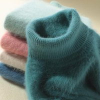 Femmes pull à col roulé 100% vison cachemire en peluche haute cravate de couleur unie chandail douce chaleur Jumper femmes automne hiver