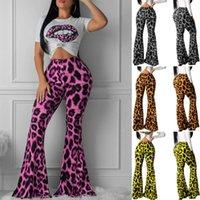 Damenbild Bein Stretchy Hosen Bell Bottom Bottom Leopard Lange Hohe Taille Hose Damen Hot Printed Long Hose Kleidung