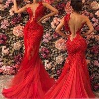 2019 rojo escarcha ver a través de los vestidos de fiesta de la sirena sin respaldo más el tamaño del cordón del encaje un hombro vestido de noche sexy robe de soiree