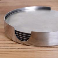 6 En 1 redondo de acero inoxidable resistente al calor Posavasos Tabla alfombra antideslizante taza de café soporte amortiguador Mantel Vajilla Pad DH1126 Coaster