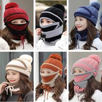 3 adet Seti Kalın Fleece Çizgili Şapka Tuque Pom Kafatası Eşarplar Müldebak Skimask Şapkalar E110602 Caps Kış Beanie Eşarp Örme ve Maske