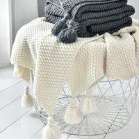 Cobertor de rosca com borla sólida bege bege café lance cobertor para sofá cama casa têxtil moda cabo de malha cobre