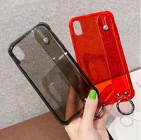 Hi-Q Glitter Powder Holder Phone Case For iPhone 11 X XR XS Max 6 6S 7 8 Plus Transparent Soft TPU Wrist Strap Shockproof Back Cover