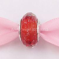 Authentique 925 Perles en argent Sterling Murano Red Shimmer Charm Convient aux bracelets de bijoux de style Pandora européen 791654