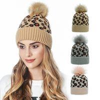 9Colors Fashion Leopard Beanies Women Crochet Beanies Winter Warm Knit Skull Caps Tuque Girls Pompom Ball Knitted Hats Headwear CZ101903