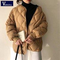 Vangull повседневная зимняя ветровка пальто женщины теплые одиночные грубое свободное хлопок пальто 2020 офис мода с длинным рукавом верхняя одежда1