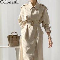 Женская траншея пальто Colorfaithith 2021 осень зима ветровка элегантные кнопки винтажные негабаритные оружины Office длинные вершины JK1311