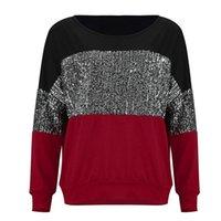 Femmes Sequin Splice Tops en vrac T-shirts 2021 Nouveaux Dernières dames Sexy Mesdames d'automne Pull Pullover Blouse Élégante Chemise Jumper Vintage Femelle