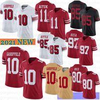 10 Jimmy Garoppolo 11 Brandon Aiyuk Men Football Jersey 99 Javon Kinlaw 85 George Kittle Jerry Rice 7 Colin Kaepernick Mcglinchey 2021 جديد