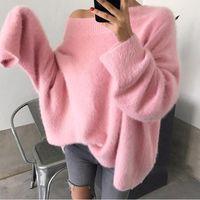 Sexy Fake Fake Mink Sweateurs Cachemire Femmes Automne Hiver Jumper Rose Coréen Slash Cou Lâche Tops à l'épaule Oversize Pullover