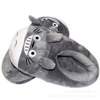 28cm anime mijn buurman totoro pluche slippers zachte gevulde indoor schoenen winter warm voor vrouw en man q0108