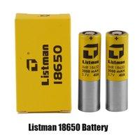 100% Original Listman IMR 18650 3000mAH 40A 3.7V Bateria recarregável de alta drenagem para 510 thread box mod genuíno