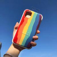 Resmi Gökkuşağı Gradyan Telefon Kılıfı iPhone için 11 Pro MAX XS MAX XR Silikon Sıvı Kapak iPhone 7 8 6s 2020 6 Plus SE