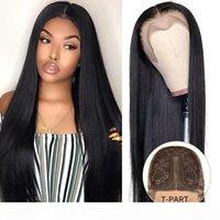 T Partie non transformé cheveux humains avant de dentelle perruque droite Remy Brésilien Glueless perruques pour les femmes noires Full Frontal dentelle perruque naturelle Hairline