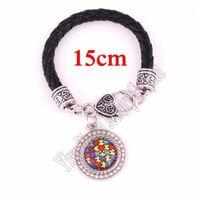 Браслеты очарования 15cm20cm24cm (выбрать свой размер) кожаный цепной браслет надежды кристалл аутизм осведомленности головоломки кусок лобстера коготь bracelets1
