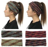 Tie-краситель трикотажного диапазона волосы способ вязания хвостик Hairbands Winter Warm Wool Hairband Девушки Headwrap шарф Тюрбан партия Derocation LSK1700