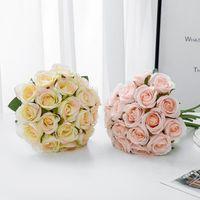 Flores decorativas guirnaldas 18pcs / lot ramo de boda artificial blanco rosa rosa rosa rosa seda fiesta año decoración decoración de san valentín regalo