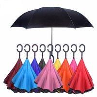 DHL Ücretsiz Kargo Araba Hands-Free Moda Şemsiye Ters Tipi C Güneşli Ultraviyole Geçirmez Uzun Saplı Doubledeck Şemsiye LOGO Yazdırabilir